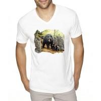 """Мъжка бяла тениска """"Мечки"""""""