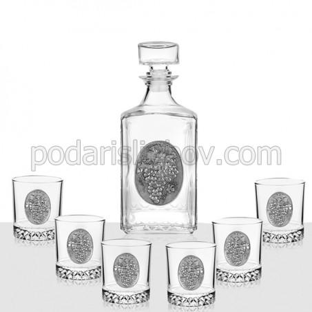 Сет бутилка и 6 чаши, за алкохол