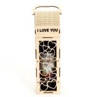 Дървена кутия за вино с надпис I love you и сърчица