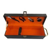 Сет от 4 аксесоара за вино в черна луксозна кутия, с камъни