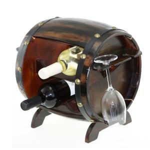 Дървена поставка за 4бр. вино и 4бр. чаши за вино, Буре 30см