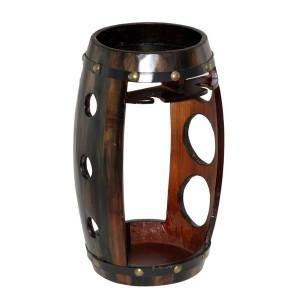Дървена поставка за 3бр. вино и 2бр. чаши за вино, Буре 40см