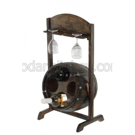 Дървена поставка за вино и чаши за вино Изба 65см
