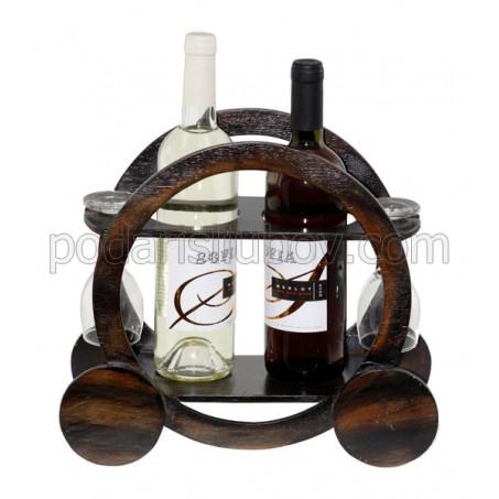 Поставка за 2бр. вино и 2бр. чаши за вино, Каляска 30см