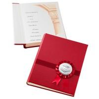 Албум за дипломиране с посребрена декорация, червен цвят