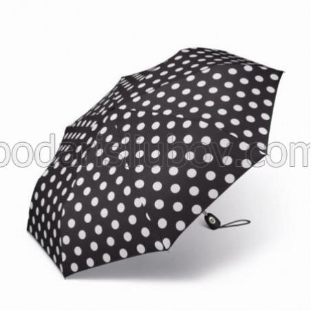 """Дамски чадър """"черен с бели точки"""""""