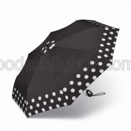 """Дамски чадър """"черен с кант на точки"""""""