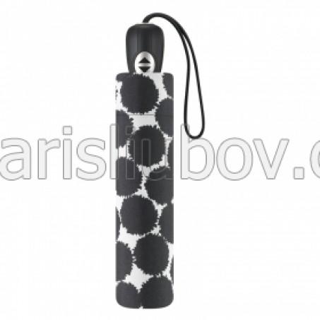 """Дамски чадър """"Черни кръгове"""", сгъваем - Pierre Cardin"""
