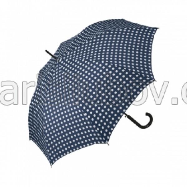 """Дамски чадър, тъмно син """"Бели Точки"""" - Pierre Cardin"""