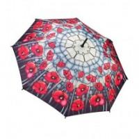 """Прав чадър """"Макове, стъклопис"""""""