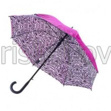 """Прав чадър """"Зебра"""", циклама с двойно покритие"""