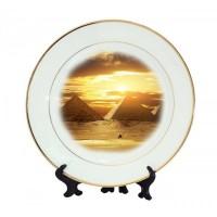 Бяла чиния със златен кант и Ваша снимка, d 20см/27см
