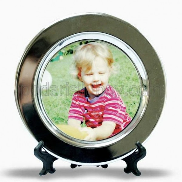 Малка метална чиния с Ваша снимка, d 10,5см