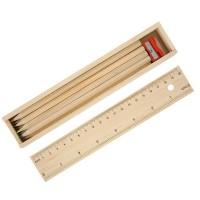 Гравиран дървен комплект с моливи, за училище