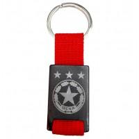 Гравиран ключодържател с футболно лого (или Ваш надпис/лого), червен