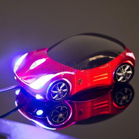 Компютърна мишка Светеща кола - червена/сребърна