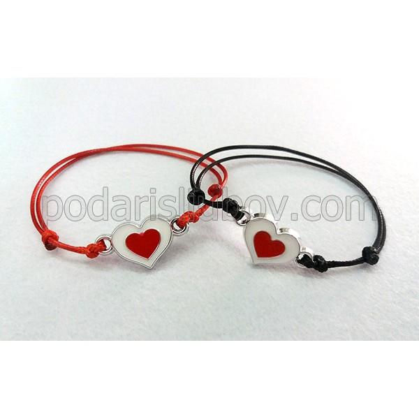 Комплект гривнички за влюбени със сърца
