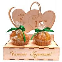 Дървен сет със солени мъфини за Годишнина от сватба
