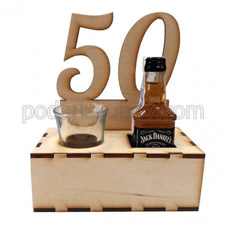 Дървен сет за юбилей с мини бутилка и шот