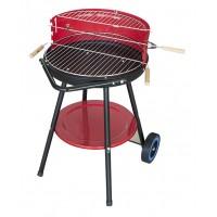 Преносимо кръгло барбекю на колелца, кръгъл грил на въглища за двор/ тераса