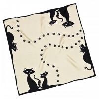 """Копринен шал """"Черни котки"""" 54*54см"""