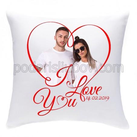 Възглавничка за влюбени, със снимка