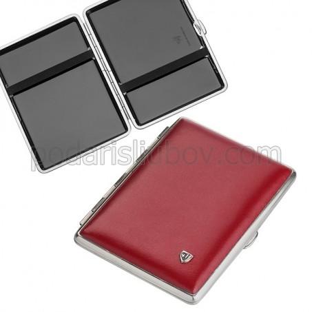Елегантна табакера в червен цвят за 20бр. цигари с дължина 100мм
