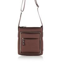 Кафява мъжка чанта, естествена кожа
