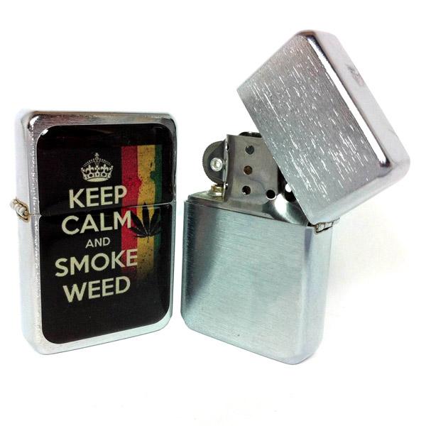 Запалка Tristar, Keep Calm and Smoke Weed, сребрист цвят
