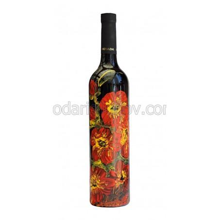 """Арт бутилка с червено вино """"Макове"""""""