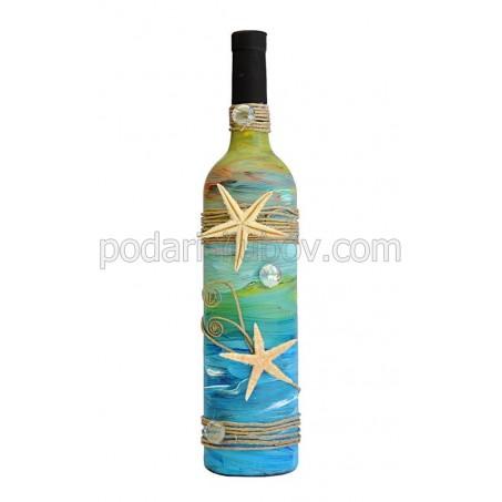 """Арт бутилка с червено вино """"Морско дъно"""""""