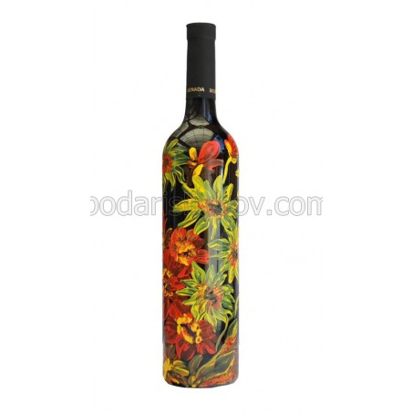 """Арт бутилка с червено вино """"Слънчогледи и Макове"""""""