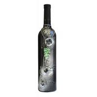 """Арт бутилка с червено вино """"Сребърна вселена"""""""