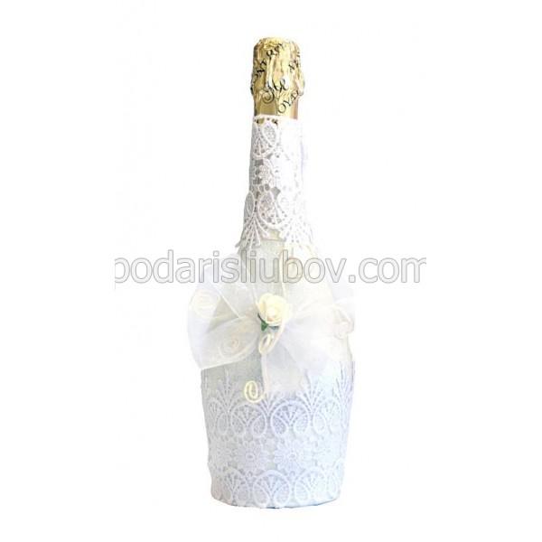 """Арт бутилка с шампанско """"Бяла дантела"""""""