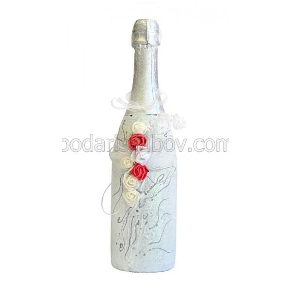 """Арт бутилка с шампанско """"Сияние"""""""