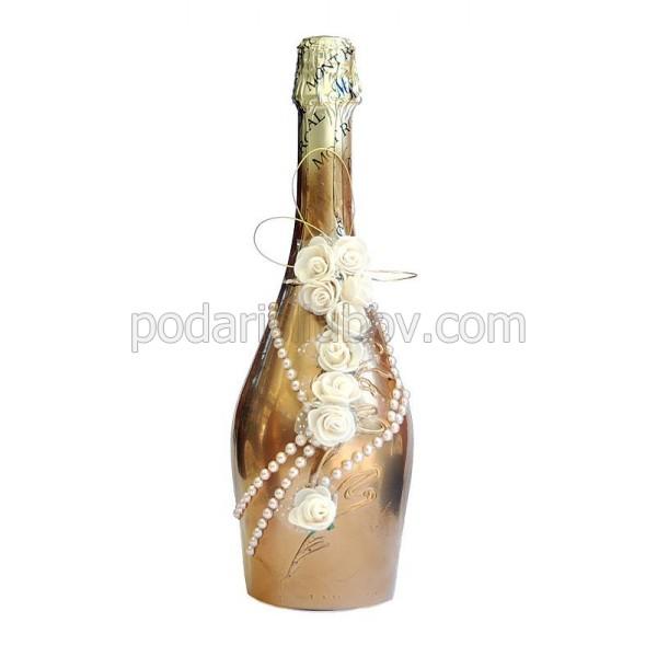 """Арт бутилка с шампанско """"Златен разкош"""""""