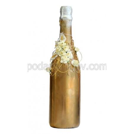 """Арт бутилка с шампанско """"Златна наслада"""""""