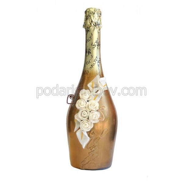 "Арт бутилка с шампанско ""Златно настроение"""