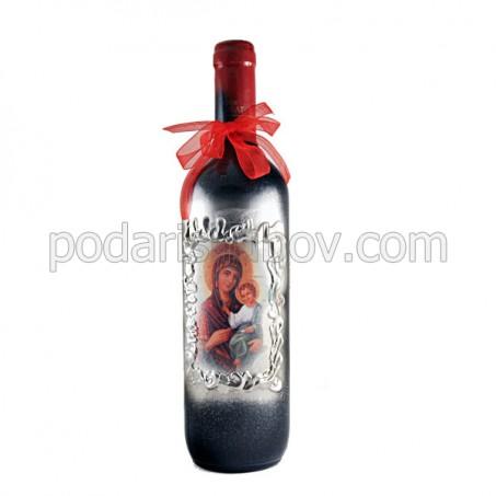 Арт бутилка с Богородица, червено вино