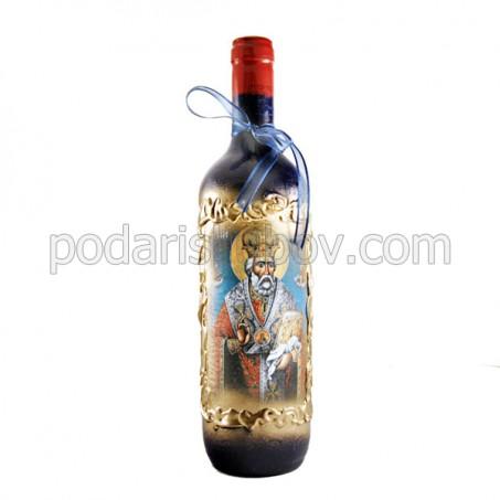 Арт бутилка за Никулден (6.12.17), червено вино