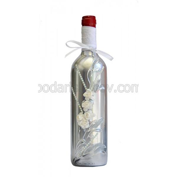 """Арт бутилка с вино """"Сребърно сияние"""""""