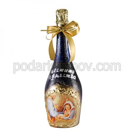 "Арт бутилка с шампанско ""Рождество Христово"""