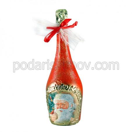 """Арт бутилка с шампанско """"Дядо Коледа"""""""