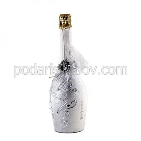 """Арт бутилка с шампанско """"Весели празници"""""""