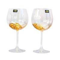 """Комплект рисувани чаши за червено вино """"Медни нюанси"""""""