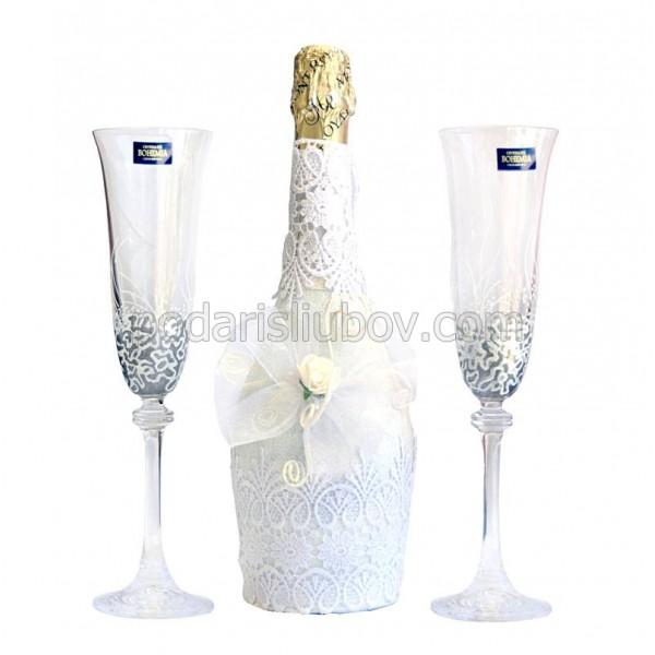 """Комплект ритуални чаши с шампанско """"Бяла дантела"""""""