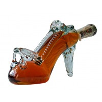 Декоративна бутилка Дамска обувка с токче, червен ром