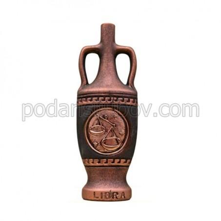 """Декоративна бутилка от керамика с вино """"Зодиак - Везни"""""""