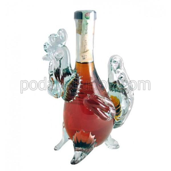 Декоративна бутилка Петел, червен ром