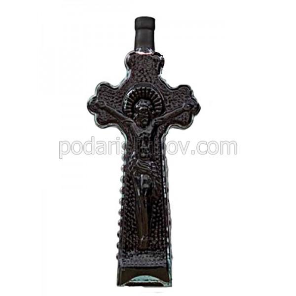 Декоративна бутилка с червено вино - Кръст